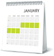 Calendar representing steps for your first 7 days on Tresiba®.