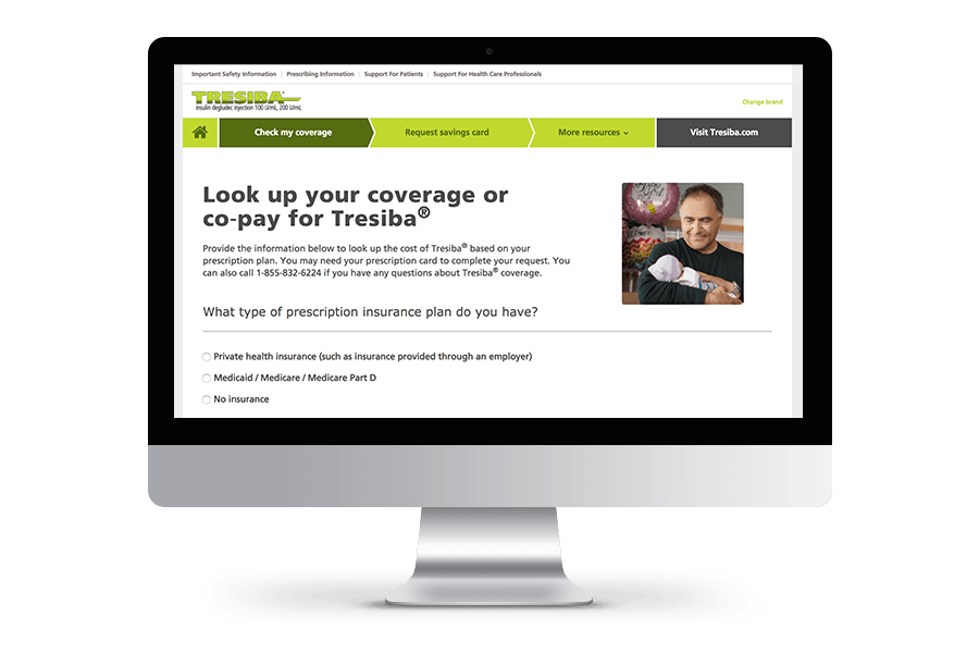 Tresiba® co-pay lookup tool