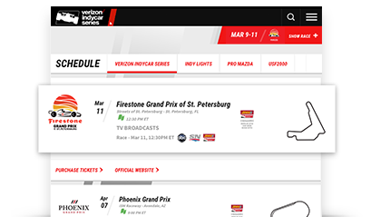 INDYCAR® race schedule